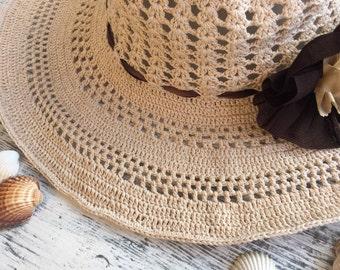 Crochet cream sun hat...Crochet summer hat