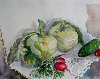 Still life, Watercolor still life, Vegetable watercolor print, Original watercolor painting, Kitchen decor, Kitchen art, print art