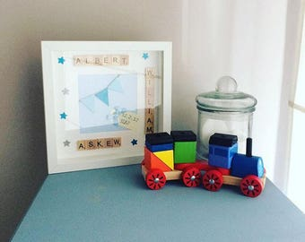 new baby boy personalised keepsake picture and frame