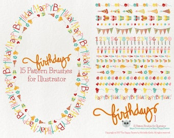 80% OFF! - Pattern Brushes for Illustrator - Birthday 1 Party Greeting