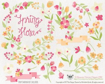 Flowers Clipart 80% OFF! – Spring Flora 6 Vector Graphics, Flower Clipart, Floral Clipart, PNG, Clip Art, Orange, Pink