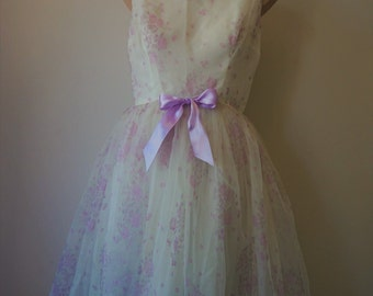 OZ WINTER SALE ** Was 269.00   The Perfect Ballerina Dress | Vintage 50s White + Lilac Party Dress | Lilac Satin Details