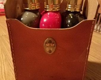 Vintage 1960s glass flask trio