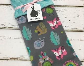 Girls Lovey blanket Security blanket Baby girl blanket Baby shower gift Girls shower gift woodland baby shower knit blanket woodland baby