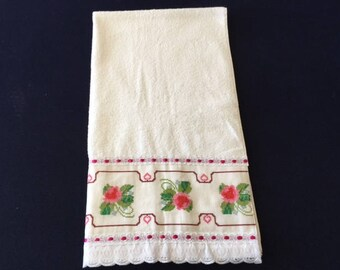White Towel Set with Embroidered Flower Design