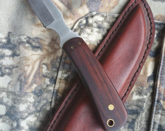 Utility Hunting Knife with a handmade leather sheath, gift for hunter, outdoorsman gift, camping knife