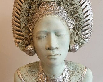 Tahitian Queen bust in celadon green  gypsum scagliola with silver leaf treatment and antique finishing.