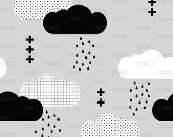 Modern Clouds Fabric by littlearrowdesigncompany