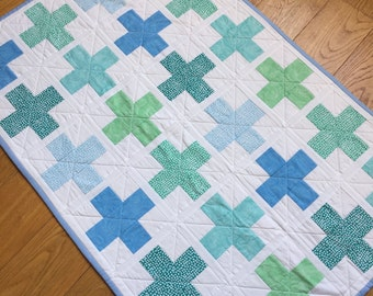 Hand Made Quilt, Green and Blue
