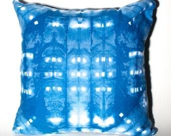"Hand Dyed Shibori Pillow 17x17"""