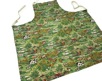Farmhouse Animals on the Farm Vintage Apron Made in Canada Sunflower Horse Cow Chicken Sheep Chef Apron Kitchen Farming Barn