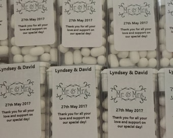 Personalised wedding tic tac favours