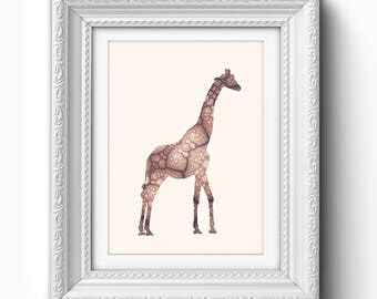 Giraffe Print, Giraffe Nursery Printable, Giraffe Wall Art, Giraffe Nursery Print, Scandinavian Print, Printable Art Decor, Safari Print