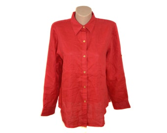 Vintage CHAPS Classics Petite women shirt red 100% linen branded goden buttons size PL