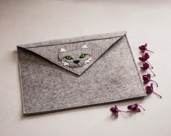 Grey Felt Cover-clutch on the MacBook (netbook, laptop) covering, case, Sleeve, hanmade, covers