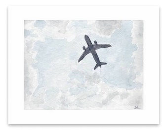 Watercolor painting print - Plane Overhead