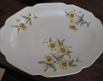 1940s Oval Serving Platter, Yellow Flowers, 40s Floral Dish