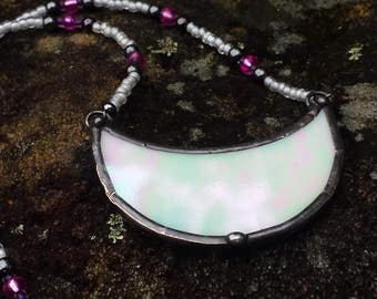 Stained Glass Pearlescent White Soldered Half Moon Pendant Beaded Necklace by Indigo Mood