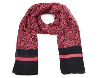 floral stencil print scarf