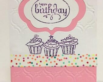 Pretty in Pink Little Girl Cupcake Birthday Card