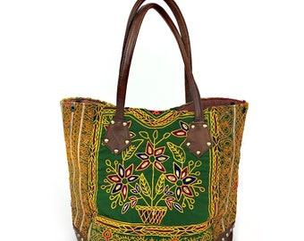 """Banjara Bag """"TREEFLOWER"""" with Leather Application 