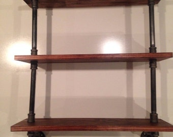 "Three Tier Industrial Pipe /  8"" Deep Wood Shelf Bathroom Kitchen Shelves Shelving Custom Stain"