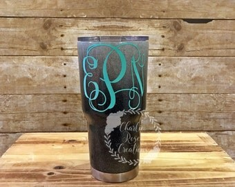 Black and white glitter tumbler | Glitter Yeti, Personalized RTIC, Gift for Her, Gift for Mom, Painted RTIC, Custom Yeti, Ombre glitter yeti