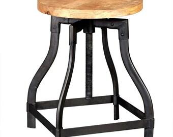 Cosmo industrial stool - Vintage Wood + Metal