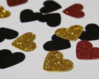 Glitter Heart Confetti, Black, Red and Gold Wedding Decor, Bridal Table Decor, Heart Birthday Confetti,Glitter Party Decorations,Gold Hearts