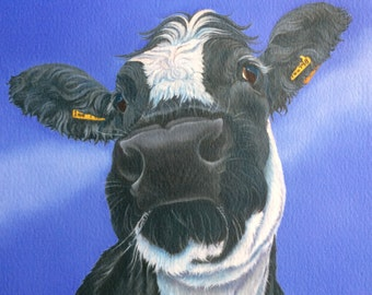 Delilah the British Blue cow painting