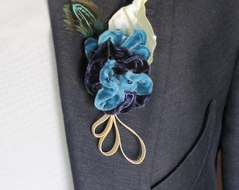 Boutonniere groom wedding wedding velvet velvet dark blue petrol