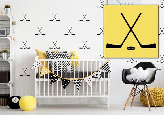 Nursery Decor Hockey Sticks and Puck Vinyl Wall Decal Sticker Set - Sport Pattern Set - Wall Pattern Decals - Vinyl Wall Decals