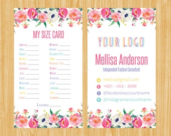 Printable My Sizes Card Size Cards  Business Card Business Cards Home Office Approved Colors Digital | BC_01