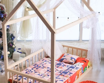 190×90,80,70cm, house bed, tent bed, wooden house, wood house, wood nursery, teepee bed, wood house bed, wood bed frame, kids bedroom