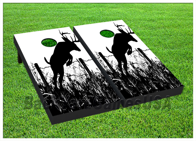Vinyl Wraps Cornhole Boards Decals Deer Black White Bag Toss
