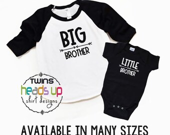 Big Brother/Little Brother Shirts - Toddler Big Bro/Baby Little Bro Raglan tshirt/Bodysuit - Trendy - New Baby - Baby Gift - Sibling Shirts
