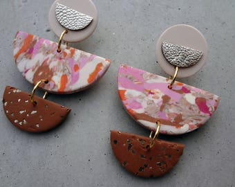 Mother of the Bride - Sunset / Polymer Clay Earrings / Leather Earrings / Stud Earrings / Drop Earrings