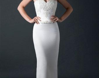 destination wedding dress/lace-up bodice/bridal gown/two piece ensemble by meti mazis designs