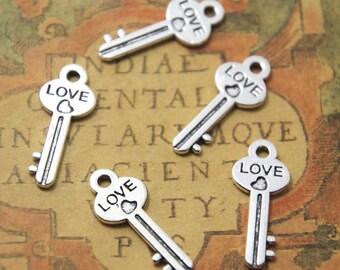 30pcs Love Key charms silver tone Lovely Filigree key Charm Pendant 25x10mm ASD01024