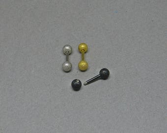 Barbell sandblasted Surgical Steel 316L Barbell With 4mm Balls  Cartilage Piercing Nipple Piercing
