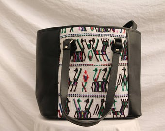 Black handmade handbag, made with Guatemalan fabric and leather