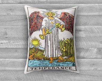 """Tarot Card Throw Pillow- Major Arcana XIV """"Temperance"""""""
