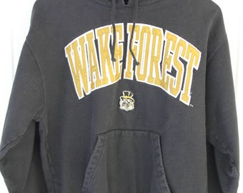 90's Vintage Wake Forest Black Hoodie Demon Deacons Winston Salem North Carolina ACC Wake Forest University Size Small