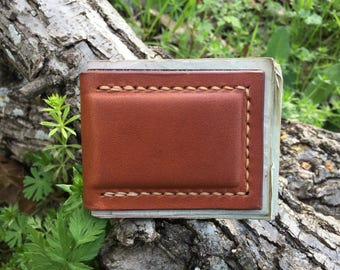leather magnetic money clip - veg tanned