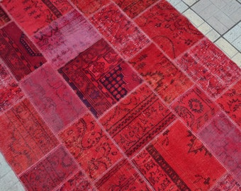 Red Patchwork Rug. Overdyed Turkish Carpet. Turkish Patchwork Rug. Free  Shipping. 10.3