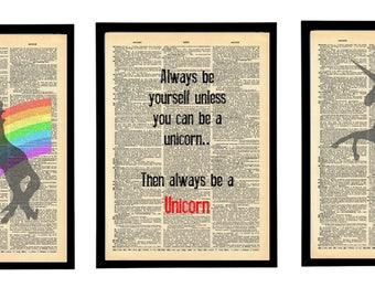 Magical Unicorns art print. Rainbow Unicorn decor. Unicorn lover gift. Vintage print pack.