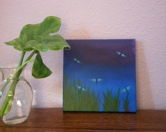 "Original Acrylic Painting  - ""Dragonfly Shadows"""