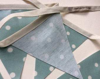 Duck Egg Blue Spotty Oilcloth Bunting in a Bag