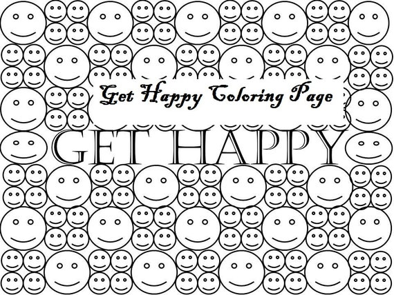 items similar to get happy smiley face coloring page