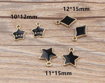 10Pcs Gold Plated Enamel Black Smile Star Square Charms Jewelry, Bracelet/Necklace Charm Pendant Crafts Making Findings DIY Jewelry Handmade